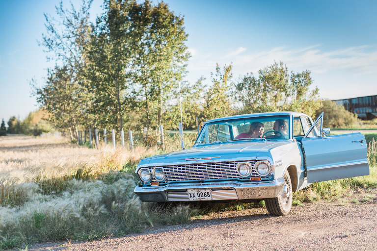 Edmonton Morinville Alberta Classic Car 1964 Chevrolet Impala Engagement Session - Karli Ann English and Darren Calvin Harper - Emilie Photography