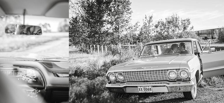 Edmonton Morinville Alberta Classic Car 1964 Chevrolet Impala Engagement Session - Karli Ann English and Darren Calvin Harper - Emilie Photography