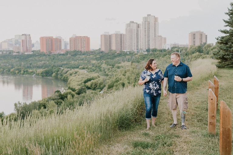 Tamsyn and Rennie Engagement Session at the Kinnaird Park with the Edmonton Downtown Skyline