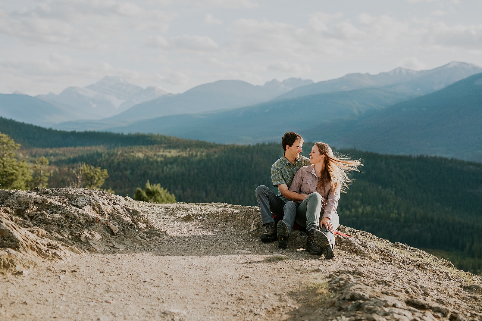 Jasper Mountain Top Engagement Photos