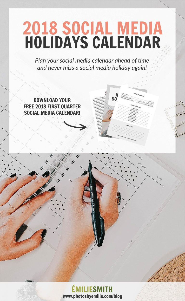Free 2018 Social Media and Hashtag Holidays Calendar
